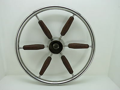 AUTHENTIC 15 inch STAINLESS STEEL WOOD BOAT SHIPS WHEEL SAILBOAT DECOR (#2321)