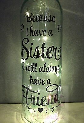 Because I Have A Sister / Always Friend Diy Wine Bottle Vinyl Decal Sticker Gift