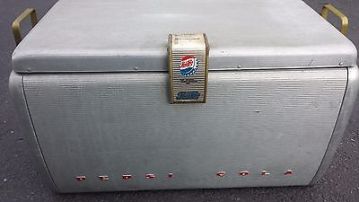 Vintage 1950s Original Aluminum PEPSI COLA PICNIC COOLER CHEST Soda Advertising