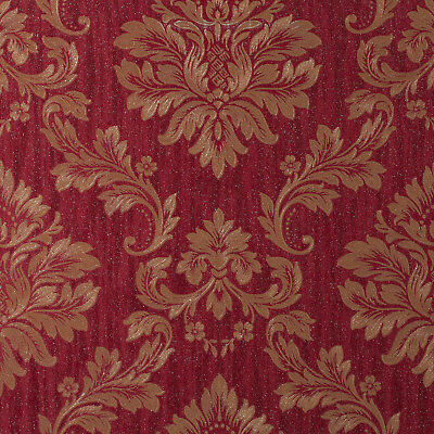 Exclusive Sparkle Glitter Dark Red Gold Damask Wallpaper (ES88107)