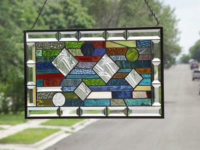 "•Balancing Act•Beveled Stained Glass Window Panel •20 ½""x12 ½""(52 x32Cm)"
