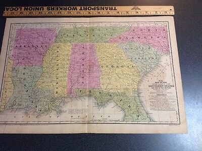 Antique Vintage Map United States Southern States Mitchell's 1839 Hand Colored