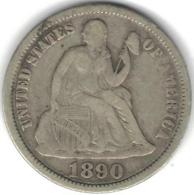 TMM* 1890 10C Silver Liberty Seated Dime Fine