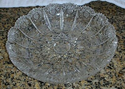 "Set 12 Bohemia Lead Crystal QUEEN LACE Hand Cut Round Dish 5 5/8"" Bohemian Czech"