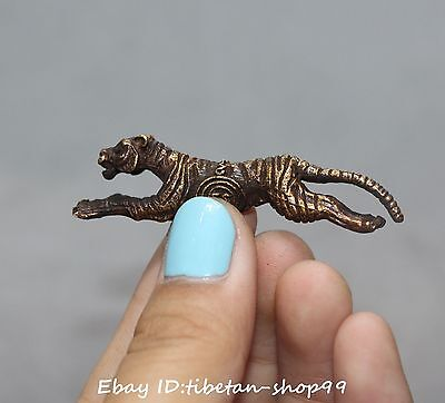 Old Chinese Bronze Fengshui Ferocious Running Zodiac Year Tiger Animal Statue