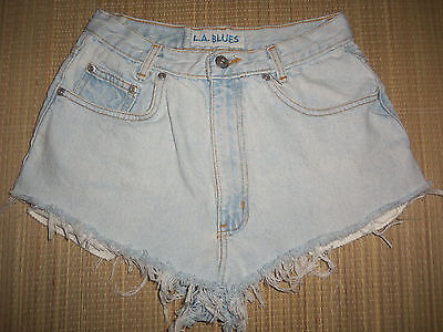 VTG 90s S W26 Light Denim High Waisted Cut Off Mom Jean Shorts LA BLUES 26""