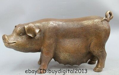 "9"" China Chinese Bronze animal Folk Fengshui Zodiac Year Pig Statue sculpture"