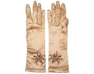 Vintage Satin Rayon Gloves Champagne Gold 1950s Ladies Size 7
