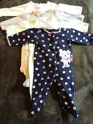 Lot 4 Baby Girl Knit Footed Sleepers Pajamas Summer Clothes Carter's 6 Mos.