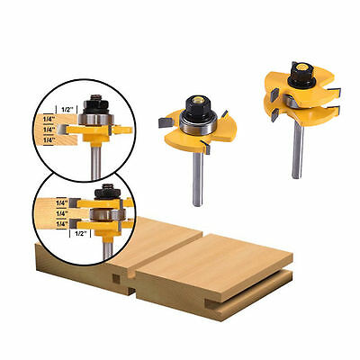 2 PCS Tongue and Groove Router Bit Set 3/4'' Stock 1/4'' Shank Wood Cutter Tool