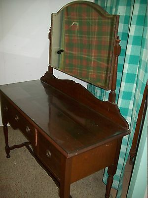 Antique Queen Anne dresser mirror dressing table drawers glass top PU Bairnsdale