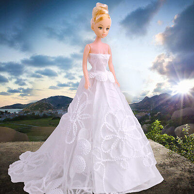 White Gown Bridal Princess Dress Wedding Evening Clothes for Barbie Doll Party