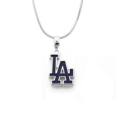 MLB Los Angeles Dodgers 925 Sterling Silver Team Pendant Logo Necklace (5 Sizes)
