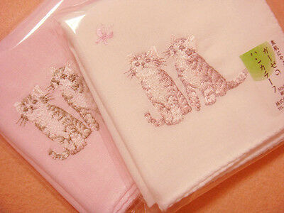 Cotton yarn Handkerchief set :Twin cats embroidery (white+pink)