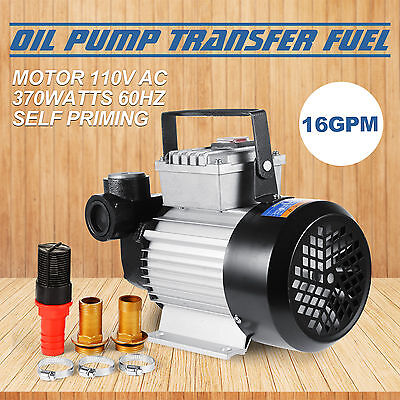 16GPM Oil Diesel Fuel Transfer Pump Self Priming 32ft Premium 110V AC EXCELLENT