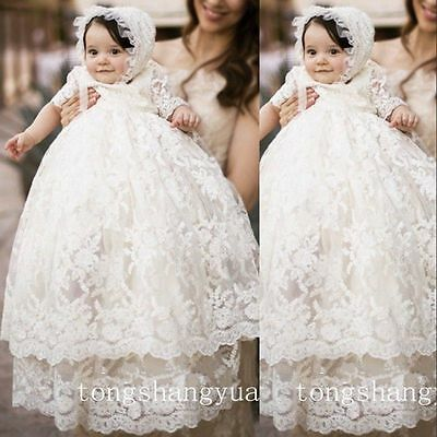 Baby Baptism Gowns For Girls Christening Dresses Lace First Communion Gown 2017