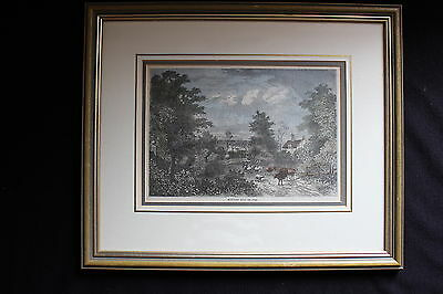 Antique Print Notting Hill In 1750 Hand Coloured Framed C. 1880