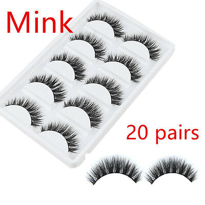 20 Pairs100% Mink Natural Thick False Fake Eyelashes Eye Lashes Makeup Extension
