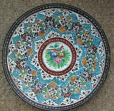 Esfahan Isphahan Persian Enamel Plate antique Middle Eastern wall hanging