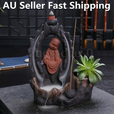 AU Ceramic Buddha Incense Burner Smoke Backflow Statue Cone Holder Home Censer