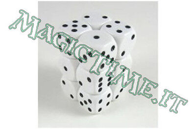 Set 12 dadi 16 mm CHESSEX Opaque White w/Black Nero con Bianco 25601 Dice CHX