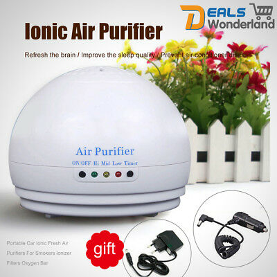 Portable Car Ionic Fresh Ionizer Filters Air Purifiers For Smokers Oxygen Bar