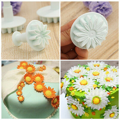 3 pcs Kitchen Decorating Baking Sunflower Plunger Daisy Cake Mold Cookie Cutter