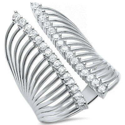 Fashion Full Finger Ring Round Cubic Zirconia Open Sterling Silver Choose Color