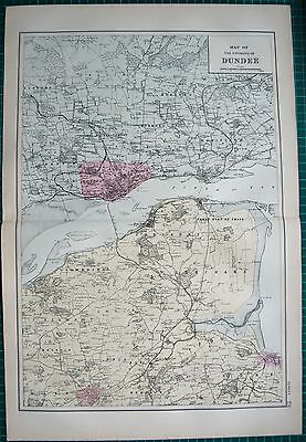 1892 Large Antique Map-Environs Of Dundee