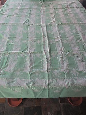 Vintage  Tablecloth 1940s kitchen Green 160cms x 122 cms