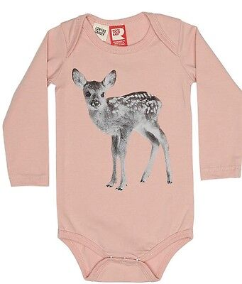 Rock Your Baby, Long Sleeve Bodysuit, 'little fawn', Size 1, Musk Pink.