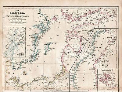 1860  Large Antique Map - The Baltic Sea With The Gulfs Of Bothnia & Finland