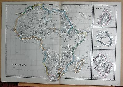 1860  Large Antique Map - Africa, Mauritius, Bourbon (Reunion), Natal