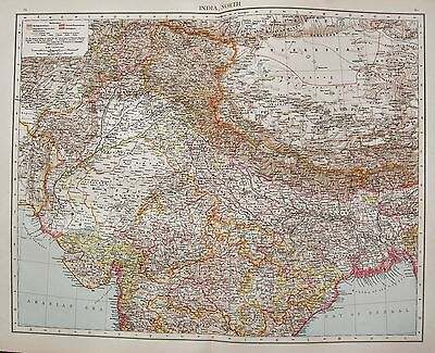 1896  Large Victorian  Map : India North