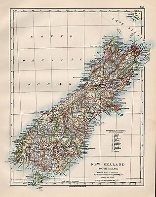 1920 Vintage Map- New Zealand, South Island
