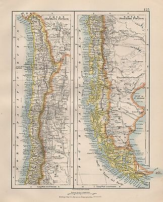 1920 Vintage Map- Chile North And South