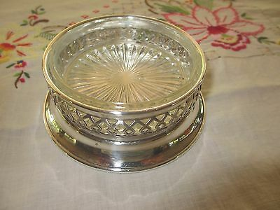 Vintage Silver Plated Wine Bottle Coaster with glass insert