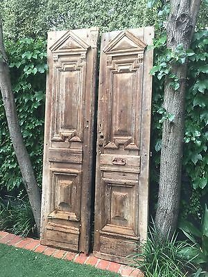 Pair of Large Timber Industrial French Doors with Iron H/W Decorative / Wall Art