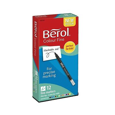 Pack of 12 Berol Pens Fine Colouring Felt Tip Washable Ink School Art Drawing