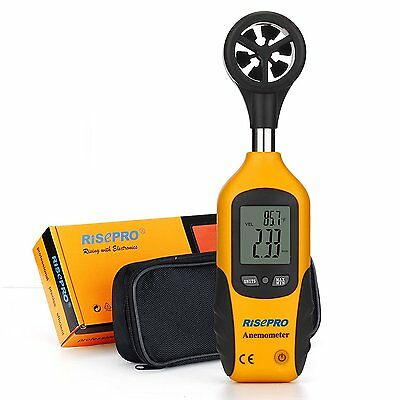 Anemometer, RISEPRO® Digital Mini LCD Wind Speed Gauge Air Flow Speed Me...