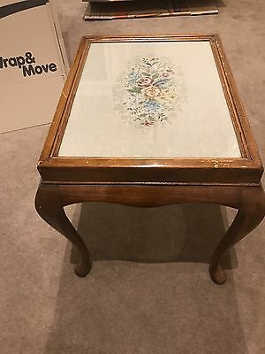Antique Side Table With Glass Embroidered Top