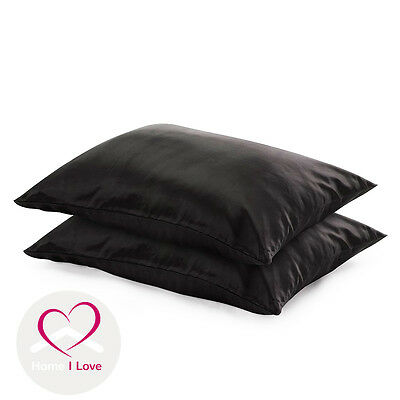 100%Pure Silk Black Pillowcases set of 2 Pamper Skin&Hair, Antiageing  70*50 cm