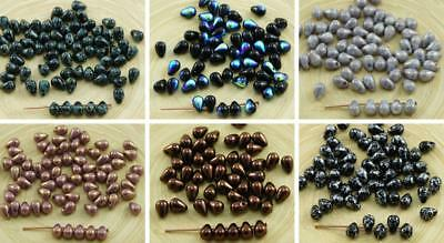 40pcs Czech Glass Small Teardrop Beads 4mm x 6mm