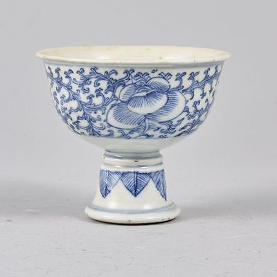 Chinese blue and white stem cup late 18thc Qianlong/Jiaqing!!