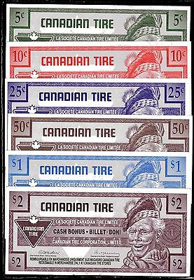 Canadian Tire 6 Notes Cash Bonus the 2 $ note has a crease and dark spots Lot#67