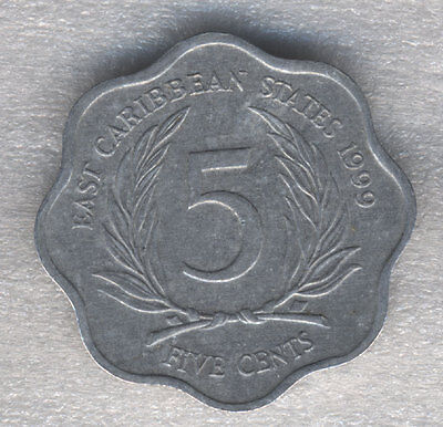 British East Caribbean 5 Cents 1999 Scalloped Shape Coin Queen Elizabeth II
