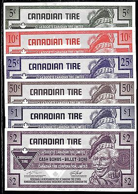 Canadian Tire 6 Notes Cash Bonus the 2 $ note has a crease Lot# 6