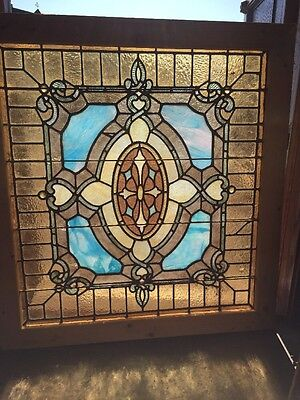 Sg 1355 Antique Stainglass Landing Window With Jewels 37 X 34 And Three-Quarter