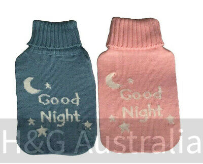 2L Hot Water Bottle Cover Knitted Plush Soft Cover Only Heated Covers Pink blue