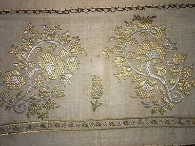 Antique Ottoman-Turkish Silk And Gold Metallic Hand Embroidery On Linen